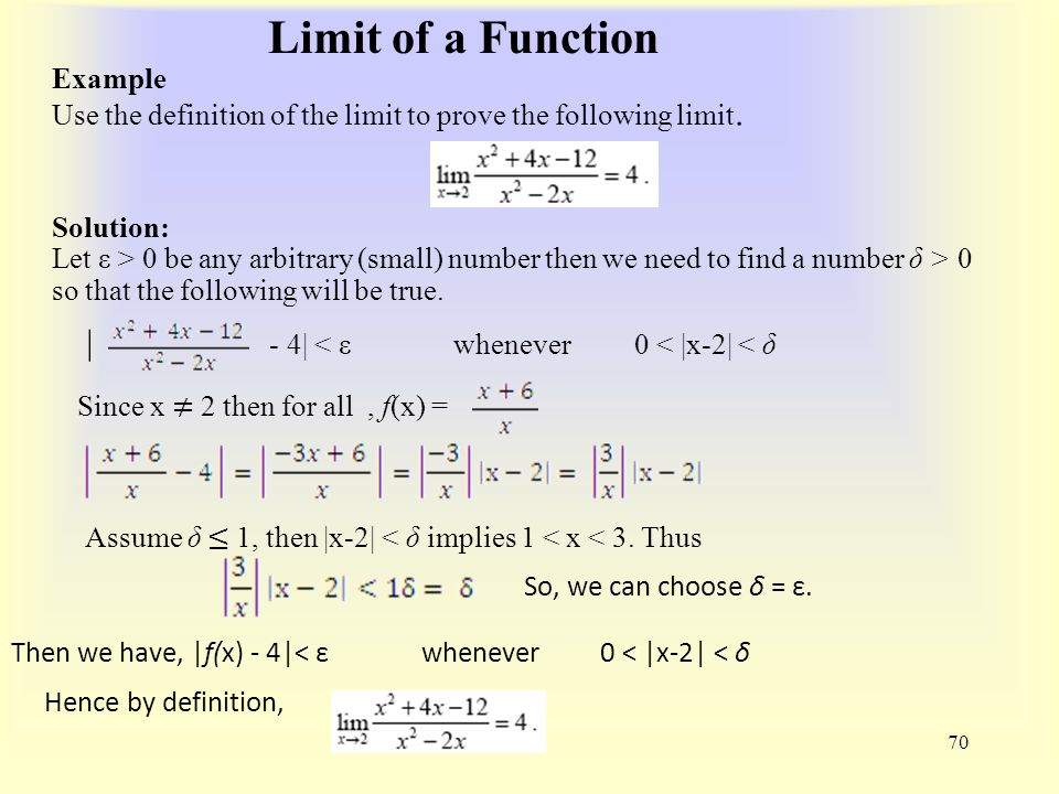 Limit of a Function 70 Example Use the definition of the limit to prove the following limit.