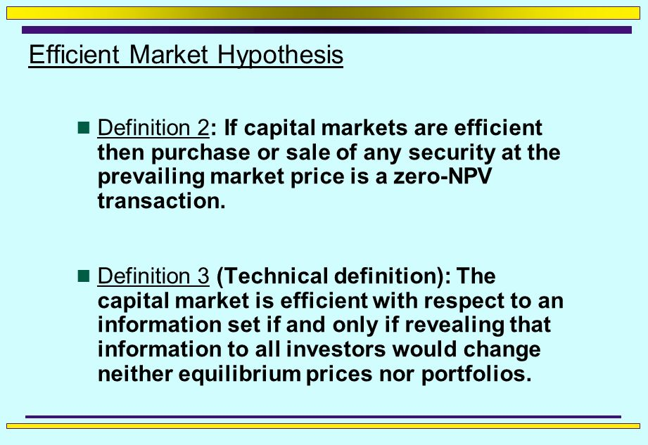 market efficiency Aswath damodaran 2 why market efficiency matters question of whether markets are efficient, and if not, where the inefficiencies lie, is central to investment valuation.
