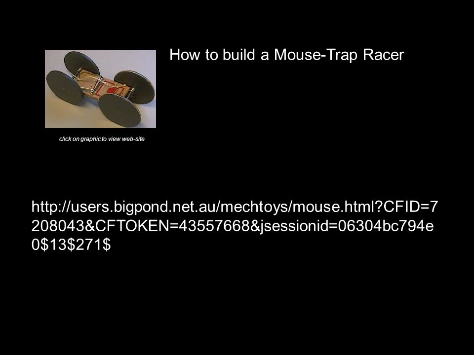 CFID= &CFTOKEN= &jsessionid=06304bc794e 0$13$271$ How to build a Mouse-Trap Racer click on graphic to view web-site