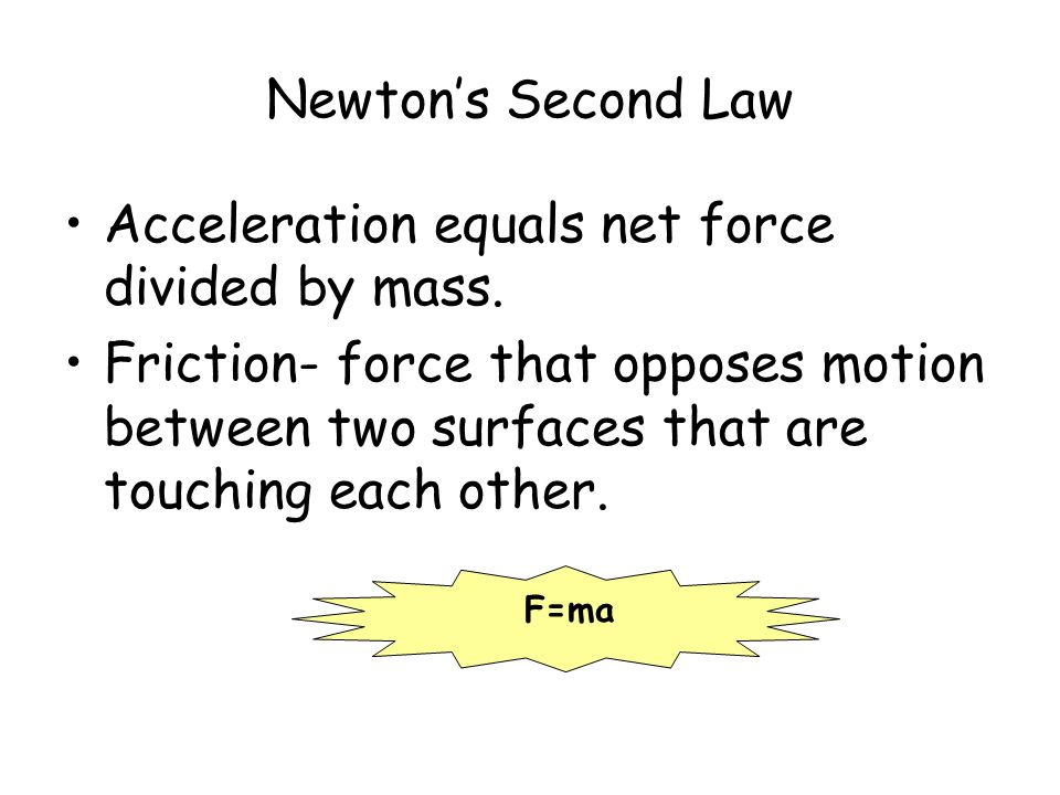 Newton's Second Law Acceleration equals net force divided by mass.