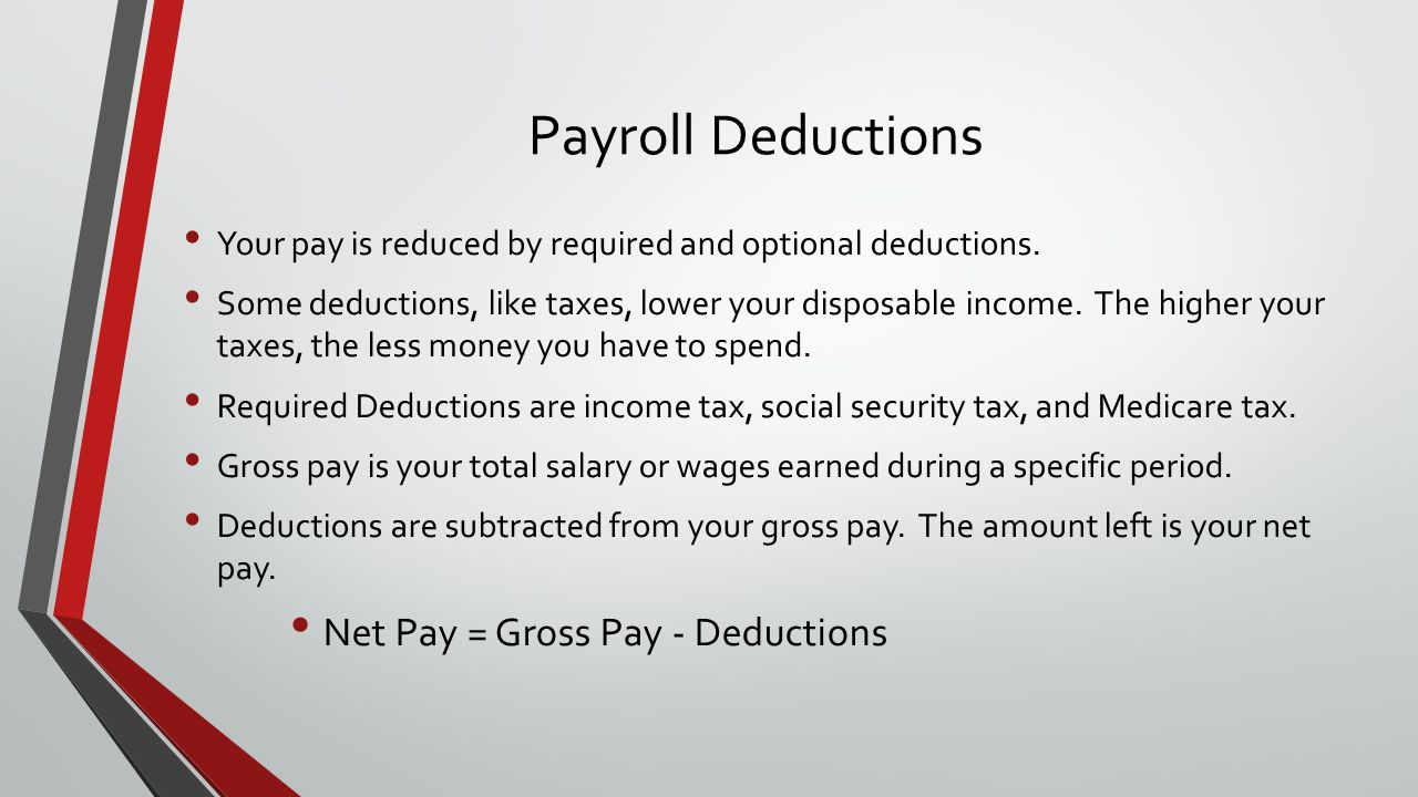 Payroll Deductions Your pay is reduced by required and optional deductions.