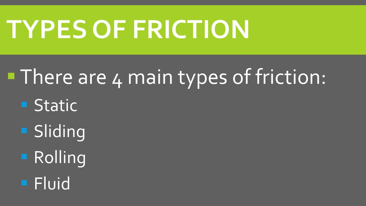 Worksheets Types Of Friction section 1 part 2 types of friction warm up you push a there are 4 main static sliding