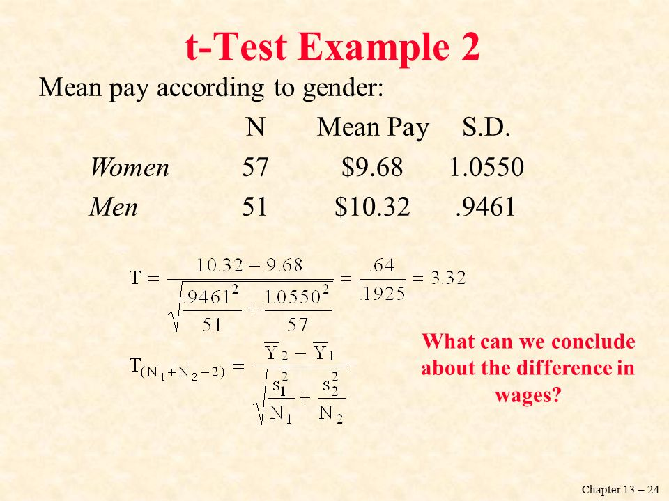 Chapter 13 – 24 Mean pay according to gender: NMean PayS.D.