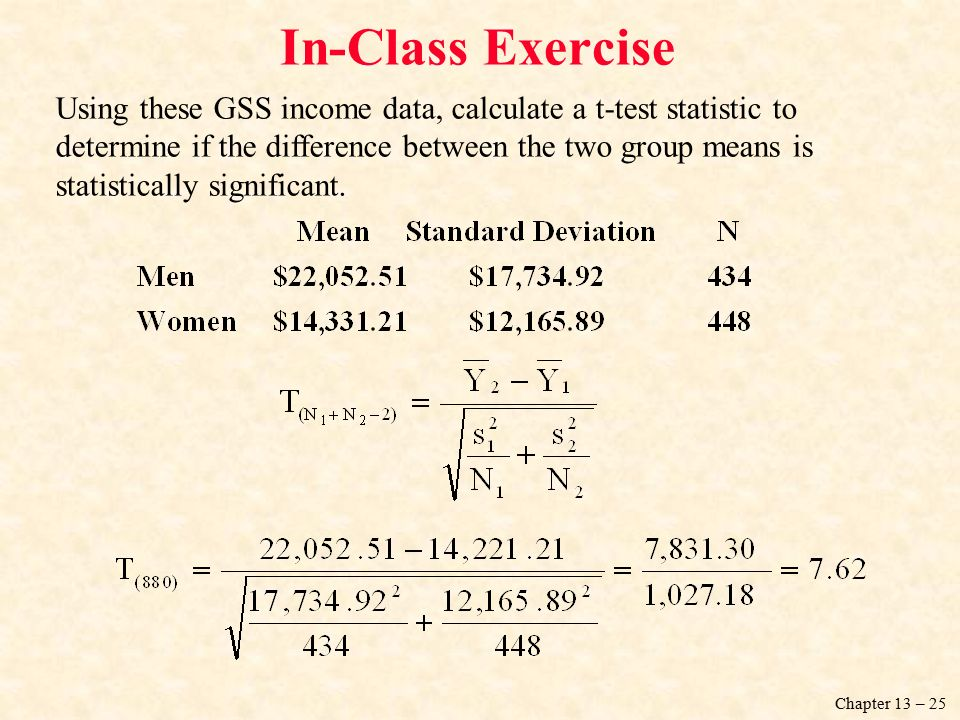 Chapter 13 – 25 Using these GSS income data, calculate a t-test statistic to determine if the difference between the two group means is statistically significant.