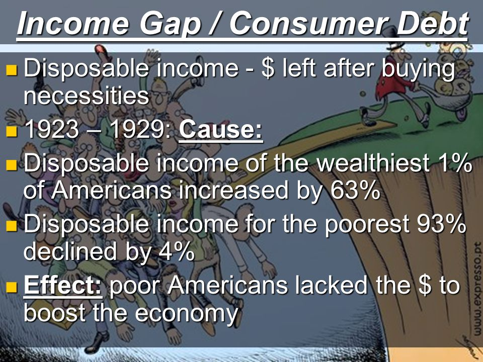 Income Gap / Consumer Debt Disposable income - $ left after buying necessities Disposable income - $ left after buying necessities 1923 – 1929: Cause: 1923 – 1929: Cause: Disposable income of the wealthiest 1% of Americans increased by 63% Disposable income of the wealthiest 1% of Americans increased by 63% Disposable income for the poorest 93% declined by 4% Disposable income for the poorest 93% declined by 4% Effect: poor Americans lacked the $ to boost the economy Effect: poor Americans lacked the $ to boost the economy