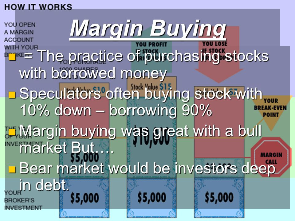 Margin Buying = The practice of purchasing stocks with borrowed money = The practice of purchasing stocks with borrowed money Speculators often buying stock with 10% down – borrowing 90% Speculators often buying stock with 10% down – borrowing 90% Margin buying was great with a bull market But….