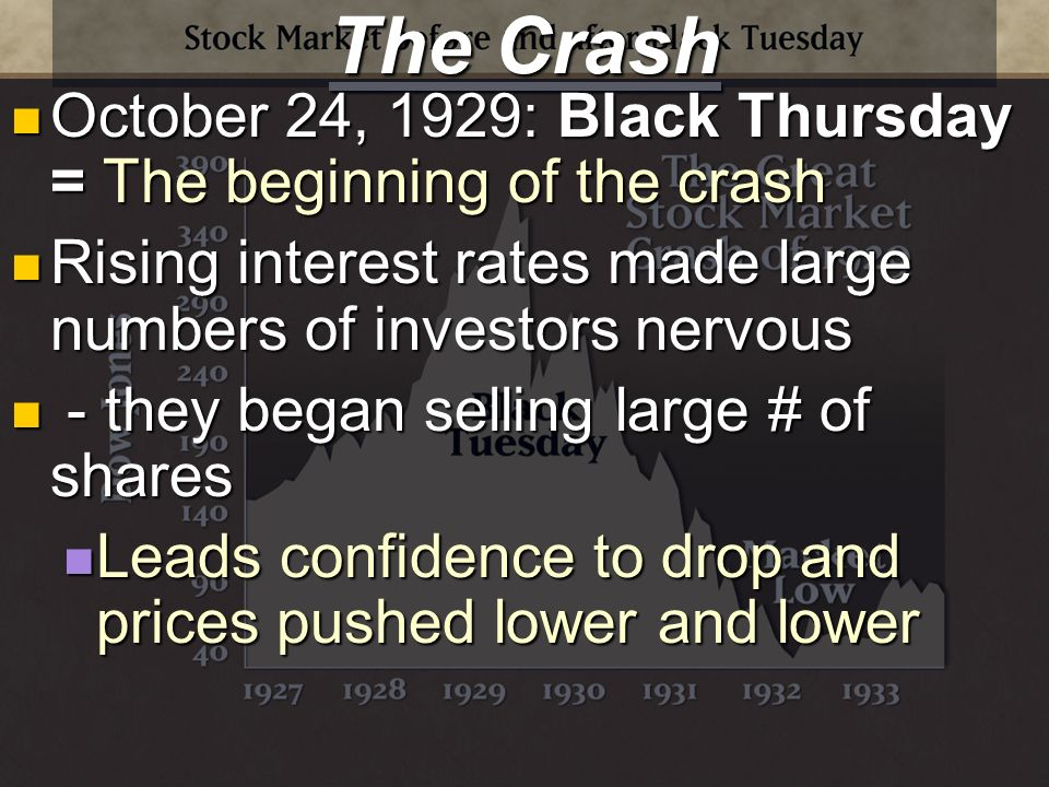 The Crash October 24, 1929: Black Thursday = The beginning of the crash October 24, 1929: Black Thursday = The beginning of the crash Rising interest rates made large numbers of investors nervous Rising interest rates made large numbers of investors nervous - they began selling large # of shares - they began selling large # of shares Leads confidence to drop and prices pushed lower and lower Leads confidence to drop and prices pushed lower and lower