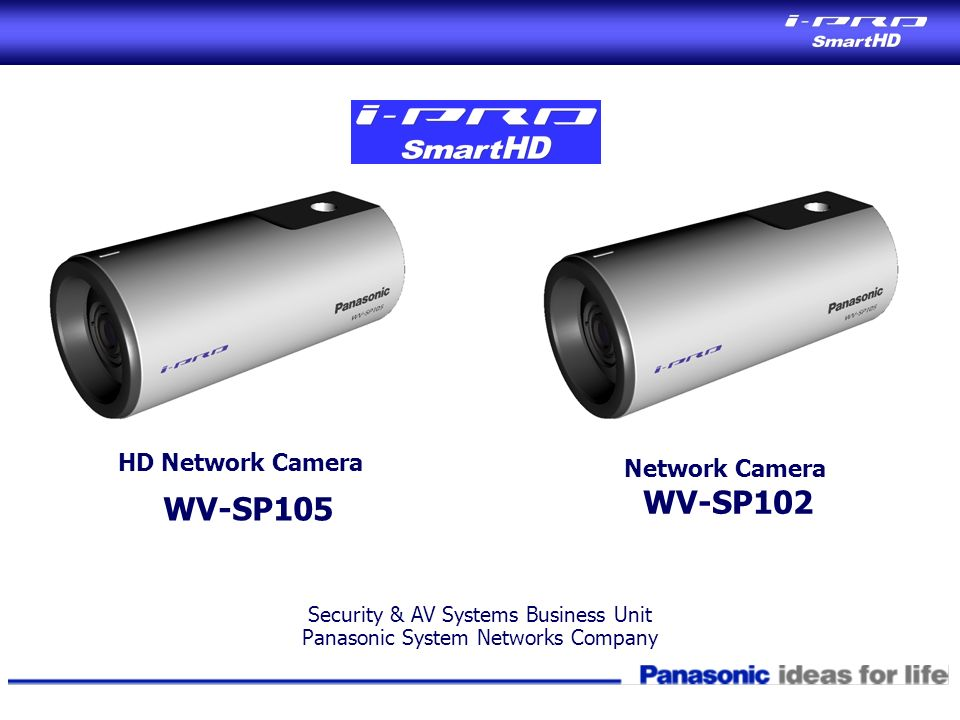 HD Network Camera WV-SP105 Security & AV Systems Business Unit Panasonic System Networks Company Network Camera WV-SP102