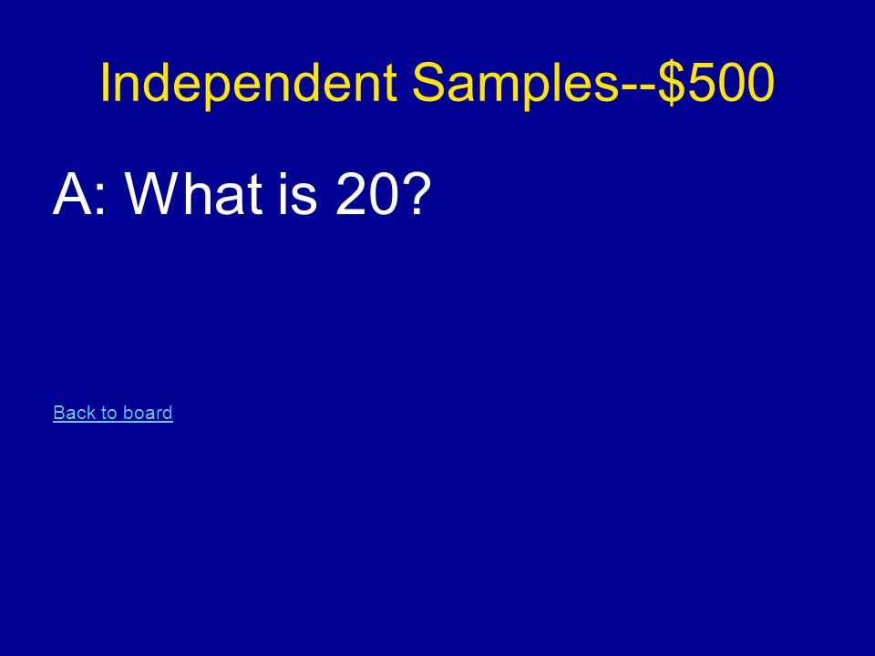 Independent Samples--$500 A: What is 20 Back to board