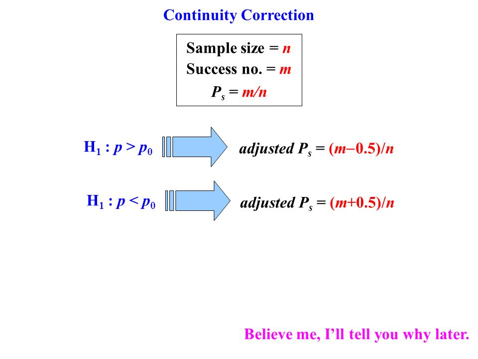 Continuity Correction Sample size = n Success no.