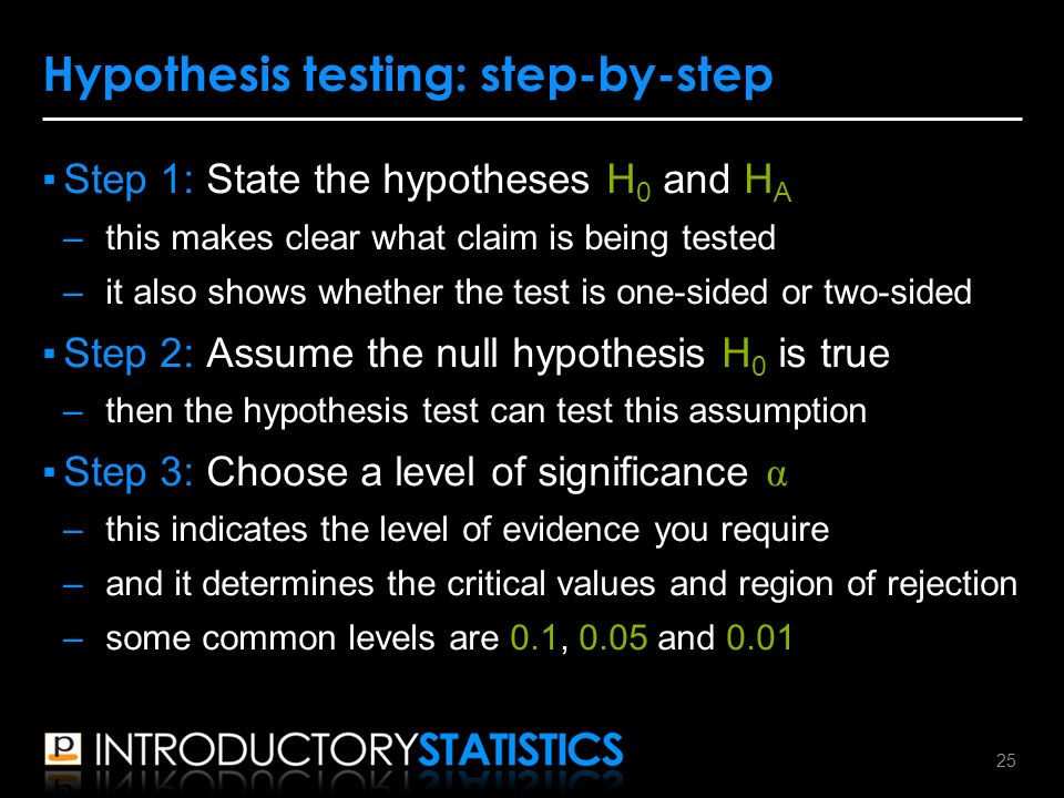 ▪Step 1: State the hypotheses H 0 and H A –this makes clear what claim is being tested –it also shows whether the test is one-sided or two-sided ▪Step 2: Assume the null hypothesis H 0 is true –then the hypothesis test can test this assumption ▪Step 3: Choose a level of significance α –this indicates the level of evidence you require –and it determines the critical values and region of rejection –some common levels are 0.1, 0.05 and 0.01 Hypothesis testing: step-by-step 25
