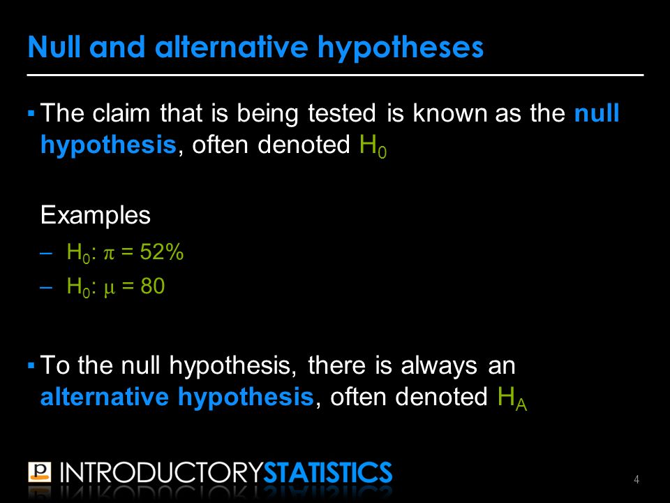 ▪The claim that is being tested is known as the null hypothesis, often denoted H 0 Examples –H 0 : π = 52% –H 0 : μ = 80 ▪To the null hypothesis, there is always an alternative hypothesis, often denoted H A Null and alternative hypotheses 4