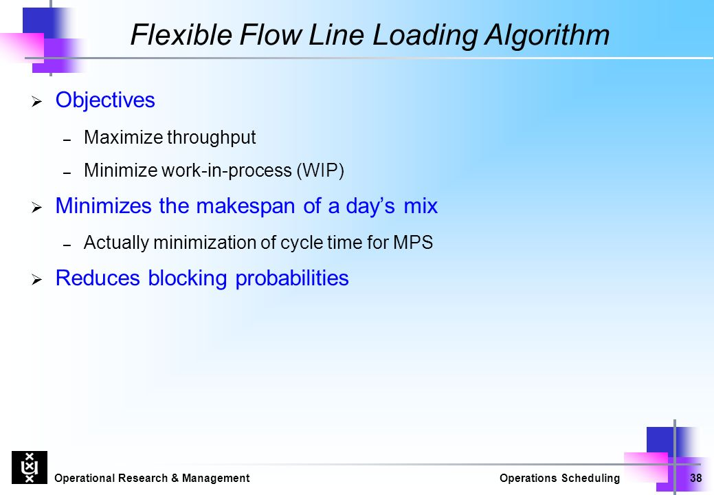 Operational Research & ManagementOperations Scheduling38 Flexible Flow Line Loading Algorithm  Objectives – Maximize throughput – Minimize work-in-process (WIP)  Minimizes the makespan of a day's mix – Actually minimization of cycle time for MPS  Reduces blocking probabilities