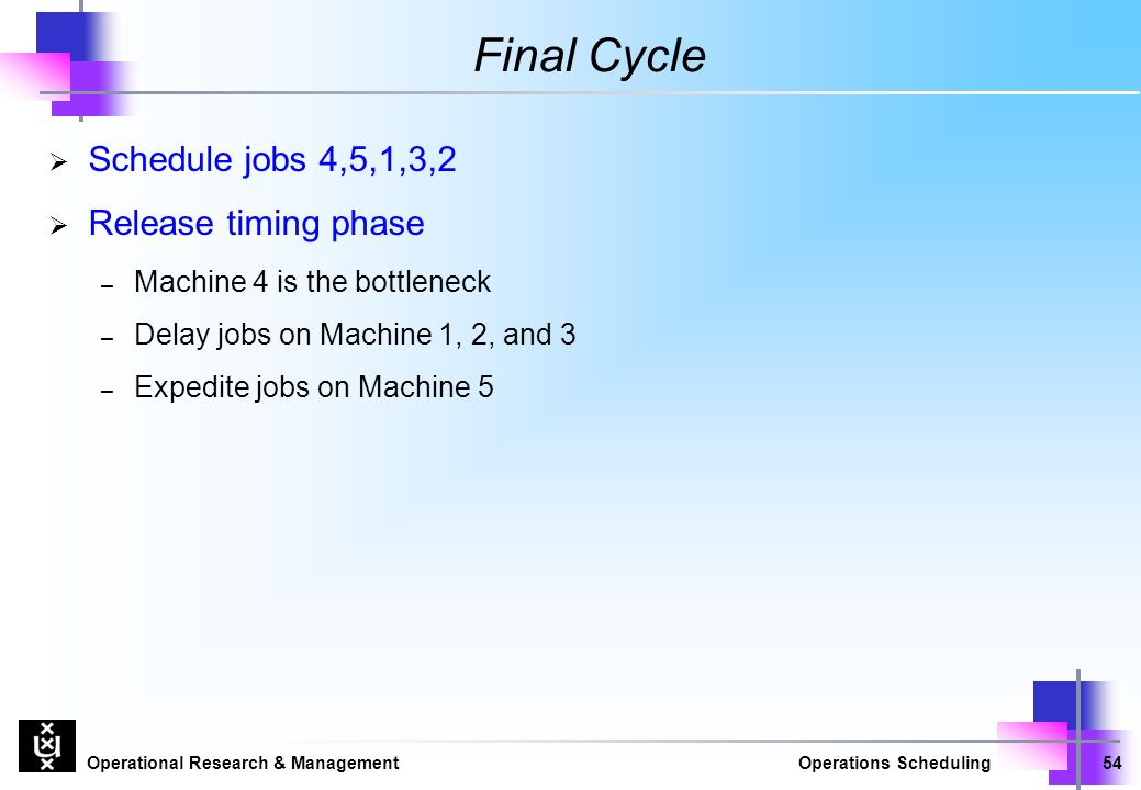 Operational Research & ManagementOperations Scheduling54 Final Cycle  Schedule jobs 4,5,1,3,2  Release timing phase – Machine 4 is the bottleneck – Delay jobs on Machine 1, 2, and 3 – Expedite jobs on Machine 5