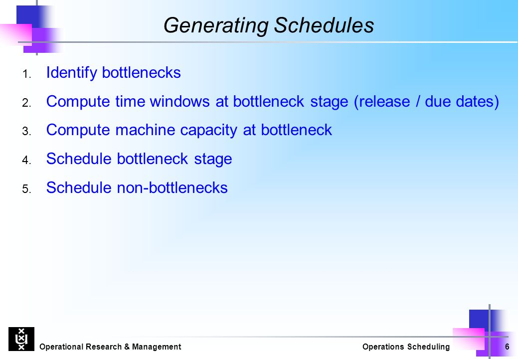 Operational Research & ManagementOperations Scheduling6 Generating Schedules 1.
