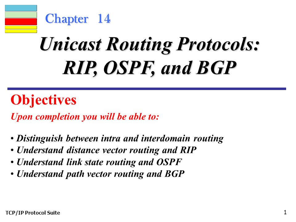 TCP/IP Protocol Suite 1 Chapter 14 Upon completion you will be able to: Unicast Routing Protocols: RIP, OSPF, and BGP Distinguish between intra and interdomain routing Understand distance vector routing and RIP Understand link state routing and OSPF Understand path vector routing and BGP Objectives