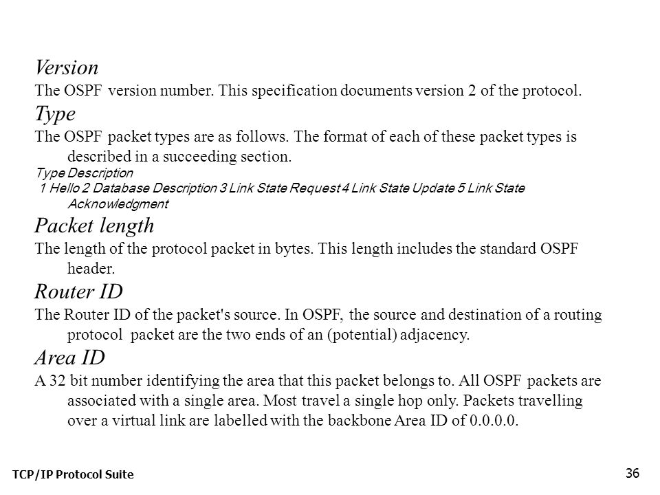 TCP/IP Protocol Suite 36 Version The OSPF version number.