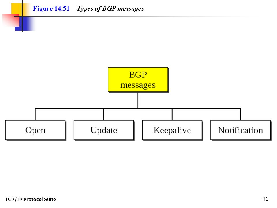 TCP/IP Protocol Suite 41 Figure Types of BGP messages