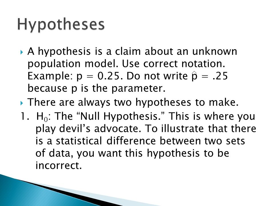 Can you prove a hypothesis