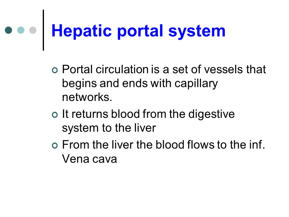 Hepatic portal system Portal circulation is a set of vessels that begins and ends with capillary networks. It returns blood from the digestive system