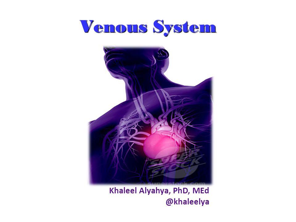 Venous System Khaleel Alyahya, PhD, MEd @khaleelya