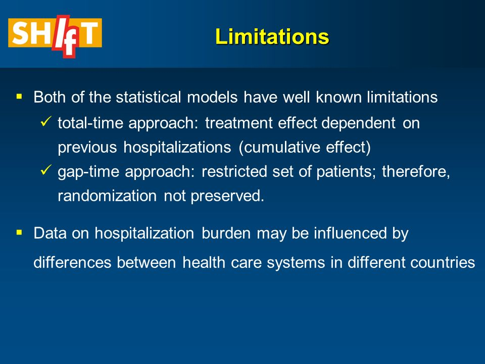 Limitations  Both of the statistical models have well known limitations total-time approach: treatment effect dependent on previous hospitalizations (cumulative effect) gap-time approach: restricted set of patients; therefore, randomization not preserved.