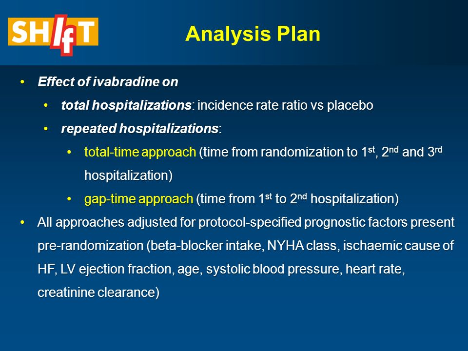 Analysis Plan Effect of ivabradine onEffect of ivabradine on total hospitalizations: incidence rate ratio vs placebototal hospitalizations: incidence rate ratio vs placebo repeated hospitalizations:repeated hospitalizations: (time from randomization to 1 st, 2 nd and 3 rd hospitalization)total-time approach (time from randomization to 1 st, 2 nd and 3 rd hospitalization) gap-time approach (time from 1 st to 2 nd hospitalization)gap-time approach (time from 1 st to 2 nd hospitalization) All approaches adjusted for protocol-specified prognostic factors present pre-randomization (beta-blocker intake, NYHA class, ischaemic cause of HF, LV ejection fraction, age, systolic blood pressure, heart rate, creatinine clearance)All approaches adjusted for protocol-specified prognostic factors present pre-randomization (beta-blocker intake, NYHA class, ischaemic cause of HF, LV ejection fraction, age, systolic blood pressure, heart rate, creatinine clearance)