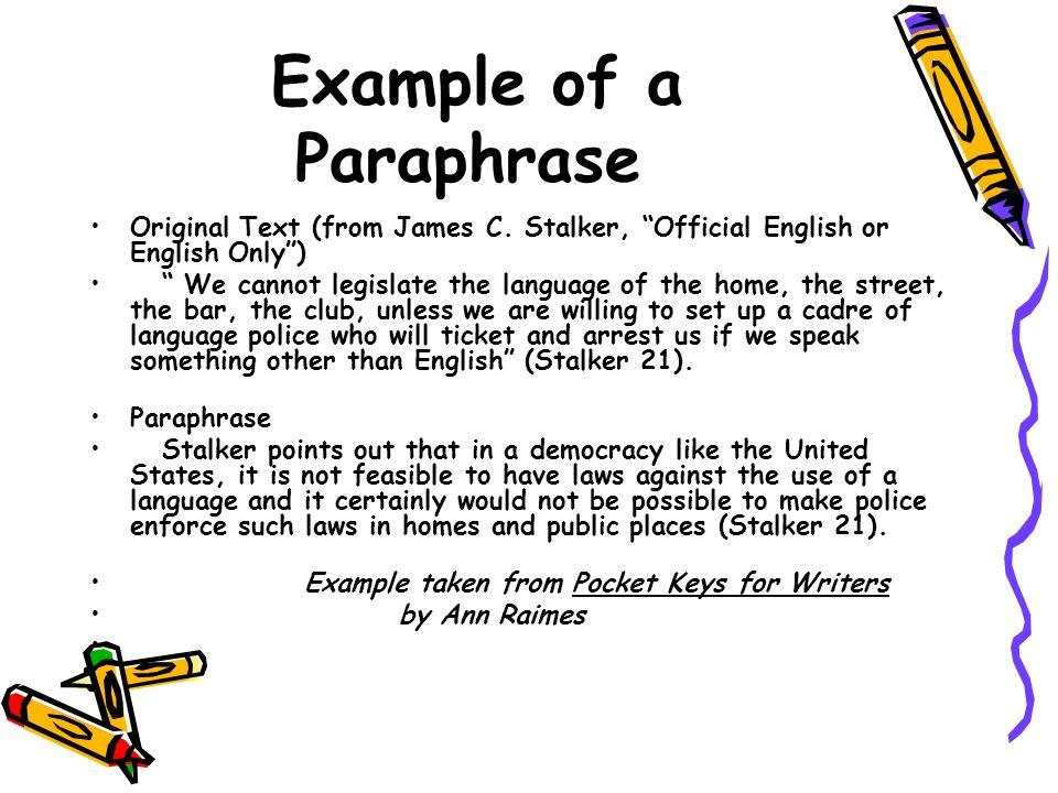 outlilne of paraphrase essay