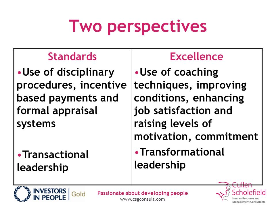 Passionate about developing people www.csgconsult.com Two perspectives Standards Use of disciplinary procedures, incentive based payments and formal a