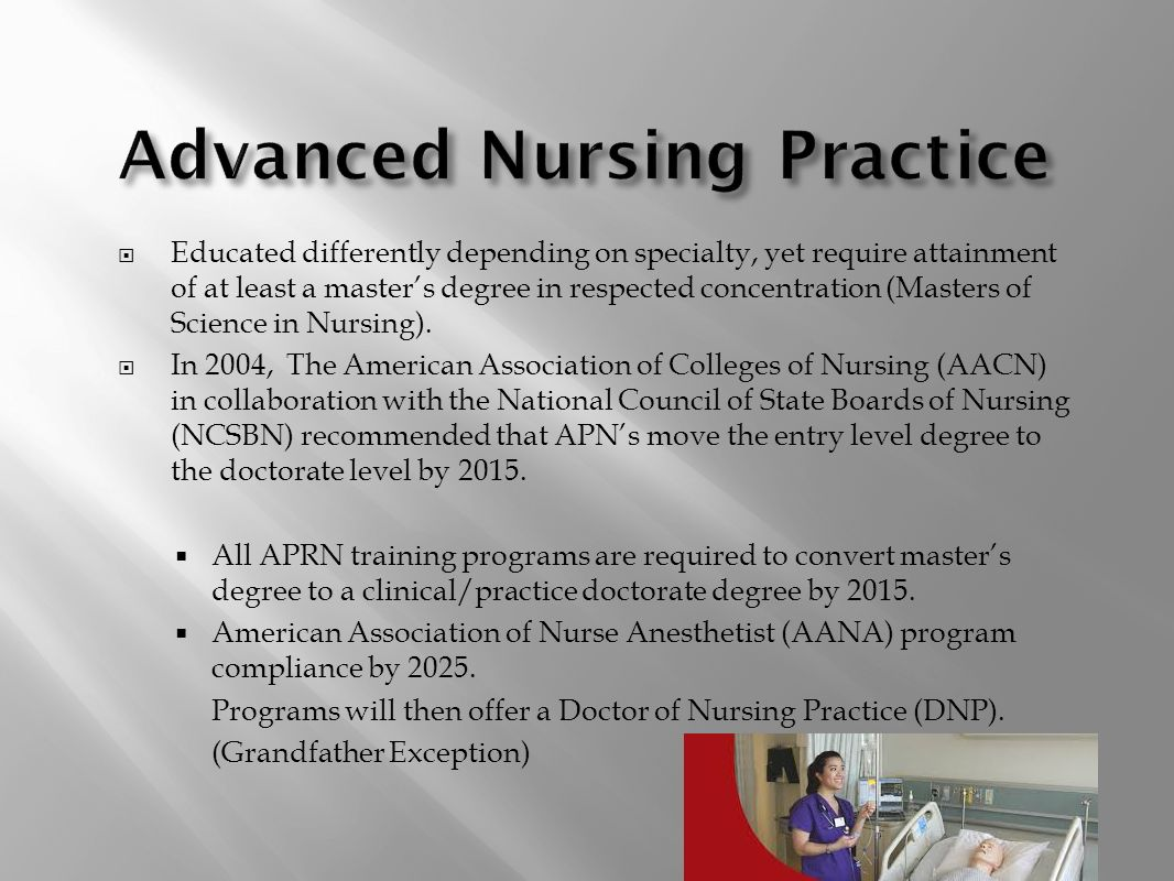 Nursing profession as new graduate nurses ppt video online download educated differently depending on specialty yet require attainment of at least a masters degree in respected concentration masters of science in nursing 1betcityfo Images
