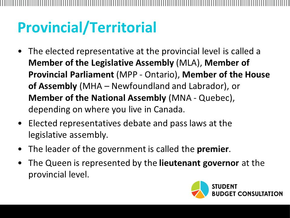 Provincial/Territorial The elected representative at the provincial level is called a Member of the Legislative Assembly (MLA), Member of Provincial Parliament (MPP - Ontario), Member of the House of Assembly (MHA – Newfoundland and Labrador), or Member of the National Assembly (MNA - Quebec), depending on where you live in Canada.