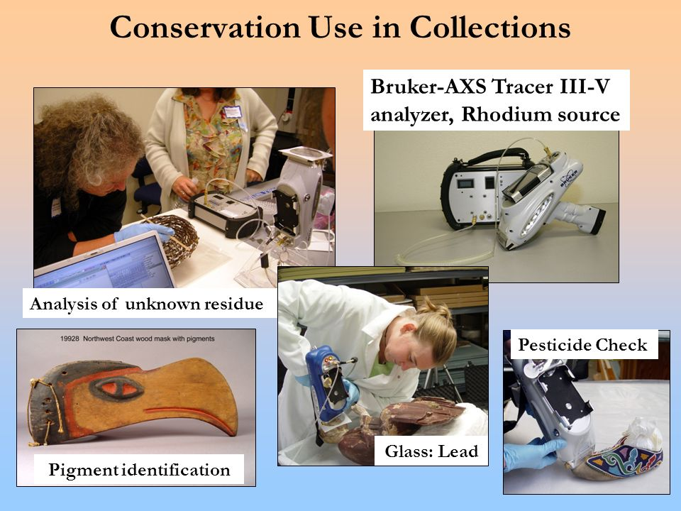Conservation Use in Collections Bruker-AXS Tracer III-V analyzer, Rhodium source Analysis of unknown residue Pesticide Check Pigment identification Glass: Lead