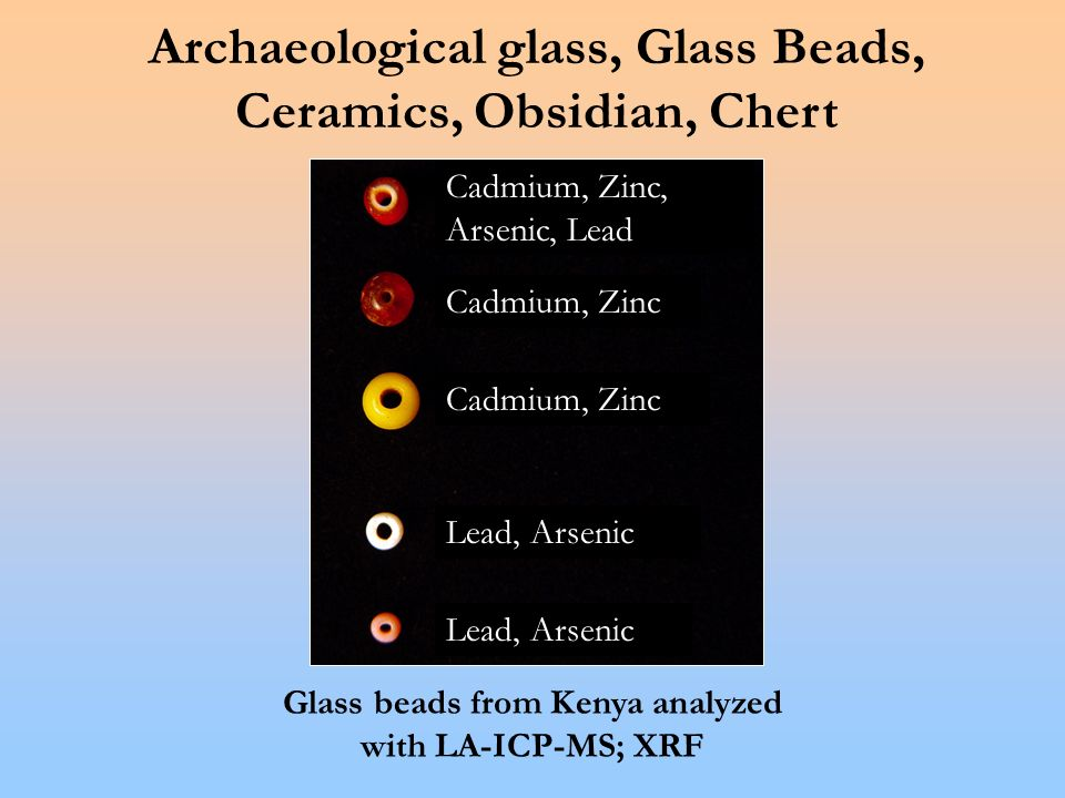 Archaeological glass, Glass Beads, Ceramics, Obsidian, Chert Glass beads from Kenya analyzed with LA-ICP-MS; XRF Cadmium, Zinc, Arsenic, Lead Cadmium, Zinc Lead, Arsenic