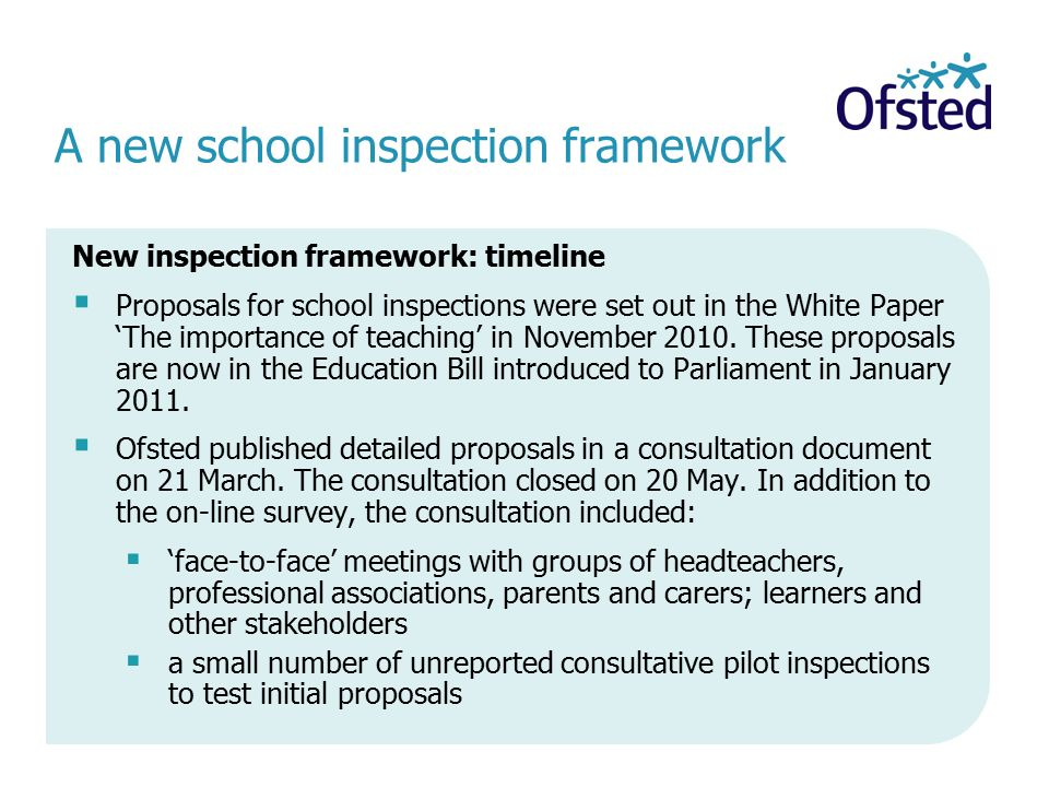 A new school inspection framework New inspection framework: timeline  Proposals for school inspections were set out in the White Paper 'The importance of teaching' in November 2010.
