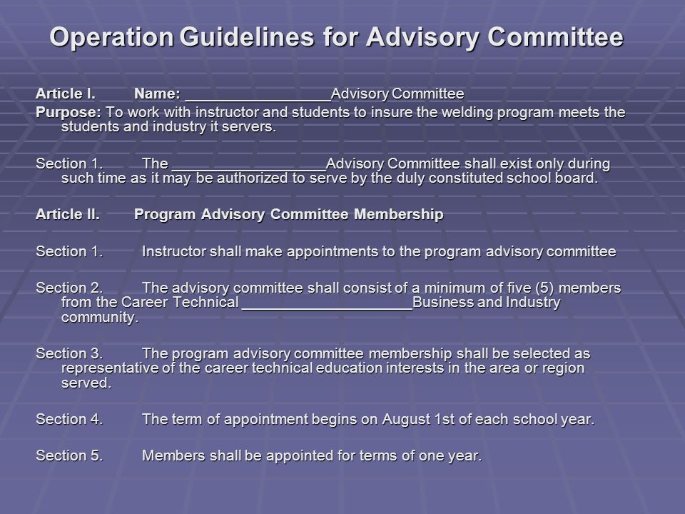 Operation Guidelines for Advisory Committee Article I.