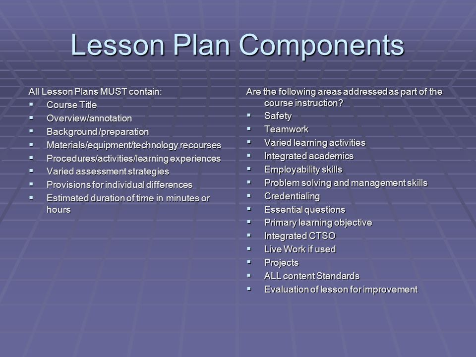 Lesson Plan Components All Lesson Plans MUST contain:  Course Title  Overview/annotation  Background /preparation  Materials/equipment/technology recourses  Procedures/activities/learning experiences  Varied assessment strategies  Provisions for individual differences  Estimated duration of time in minutes or hours Are the following areas addressed as part of the course instruction.