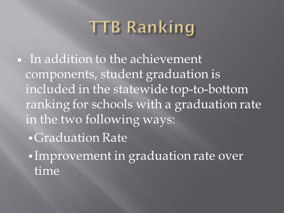  In addition to the achievement components, student graduation is included in the statewide top-to-bottom ranking for schools with a graduation rate in the two following ways:  Graduation Rate  Improvement in graduation rate over time