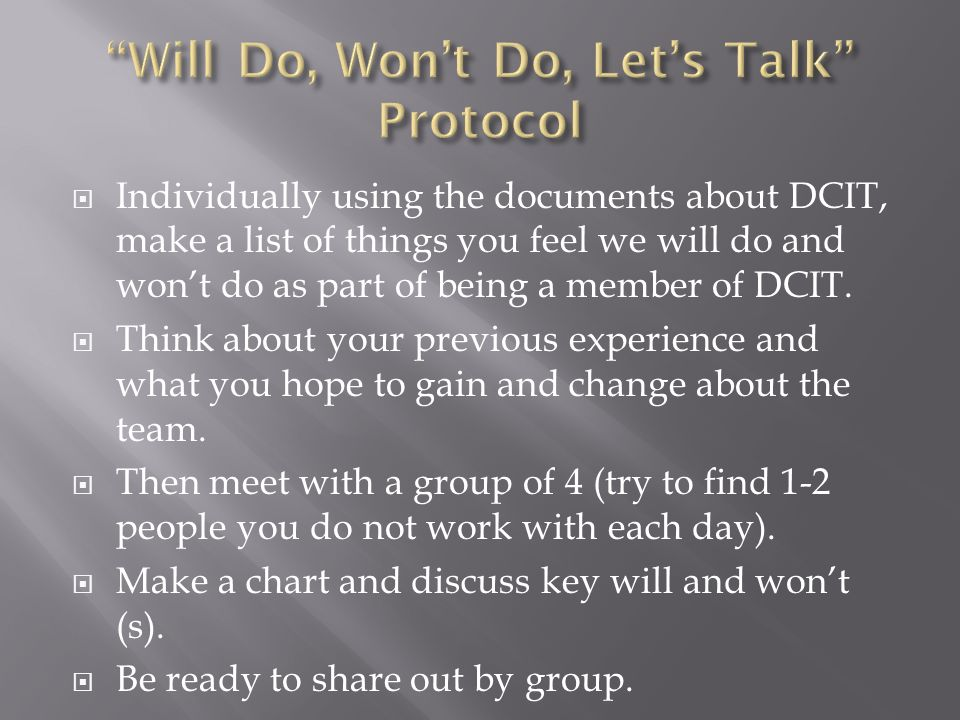  Individually using the documents about DCIT, make a list of things you feel we will do and won't do as part of being a member of DCIT.