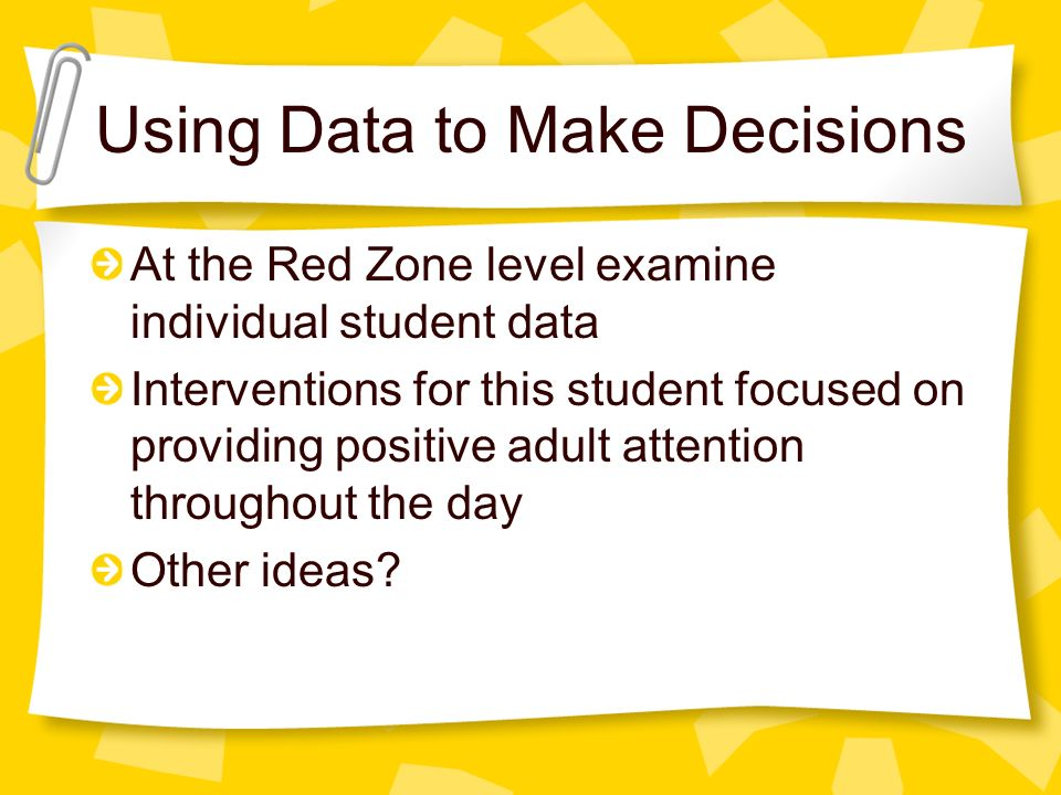 At the Red Zone level examine individual student data Interventions for this student focused on providing positive adult attention throughout the day Other ideas