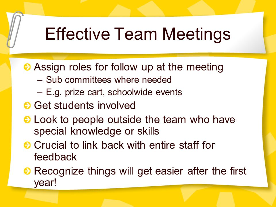 Effective Team Meetings Assign roles for follow up at the meeting –Sub committees where needed –E.g.