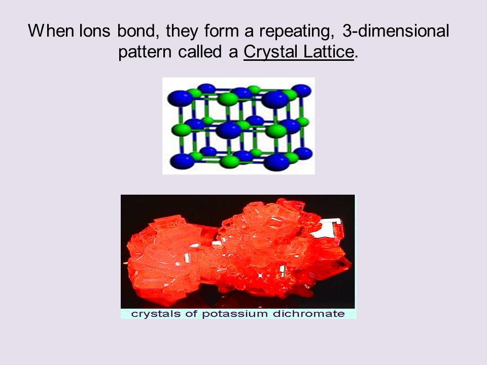 When Ions bond, they form a repeating, 3-dimensional pattern called a Crystal Lattice.