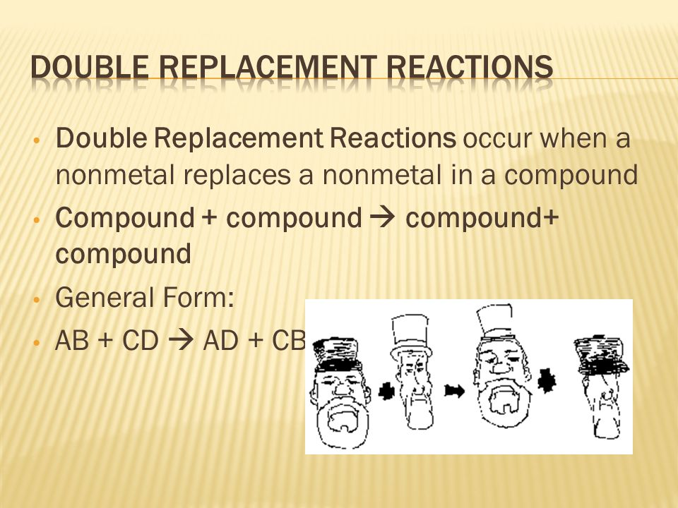 Double Replacement Reactions occur when a nonmetal replaces a nonmetal in a compound Compound + compound  compound+ compound General Form: AB + CD  AD + CB
