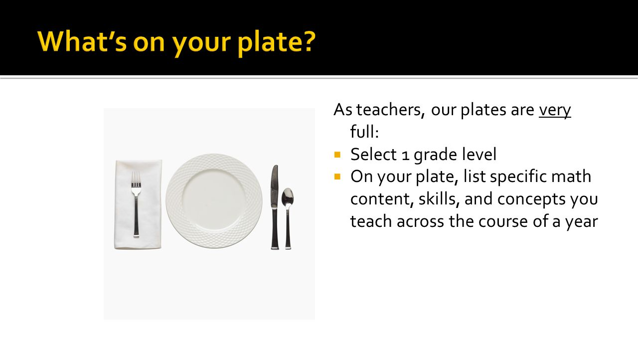 As teachers, our plates are very full:  Select 1 grade level  On your plate, list specific math content, skills, and concepts you teach across the course of a year