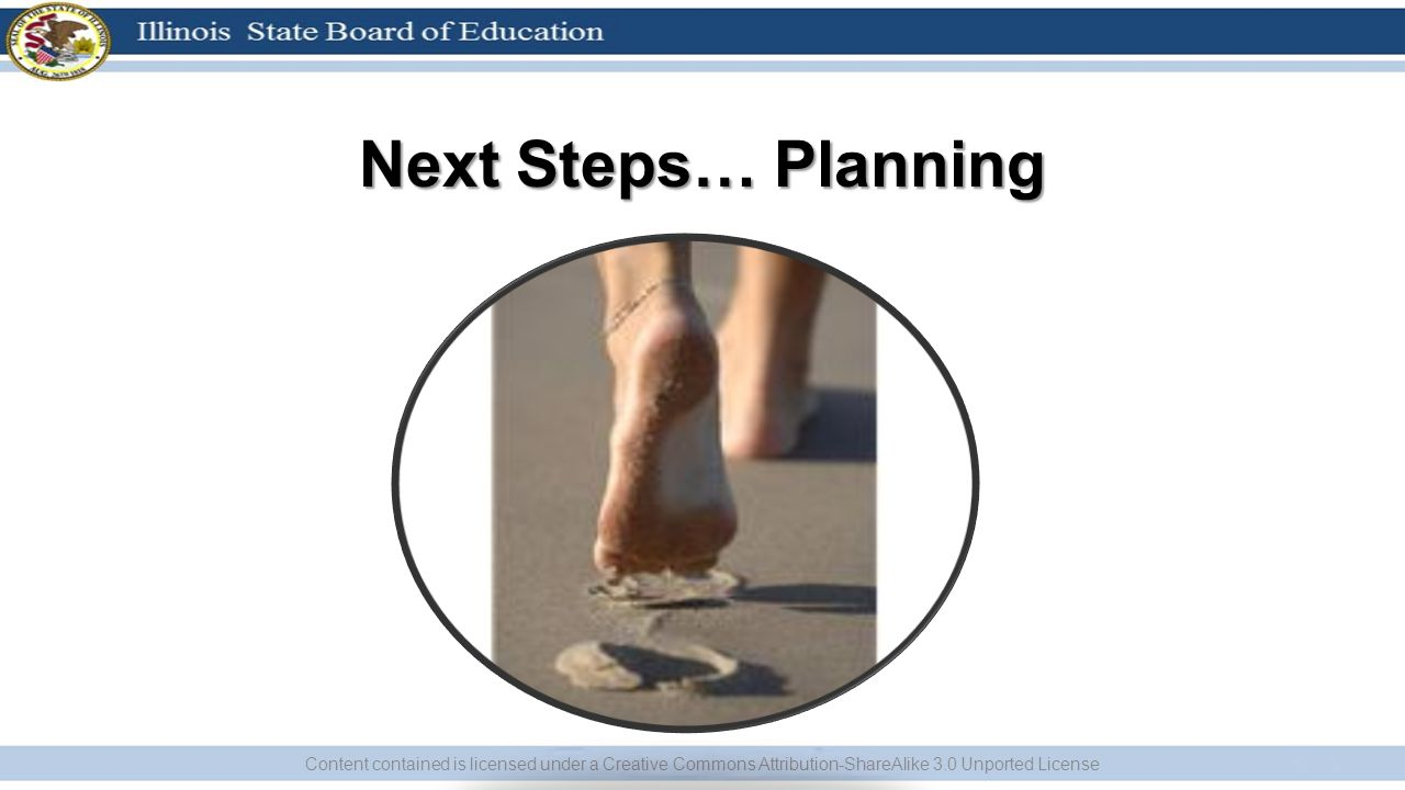Next Steps… Planning Content contained is licensed under a Creative Commons Attribution-ShareAlike 3.0 Unported License