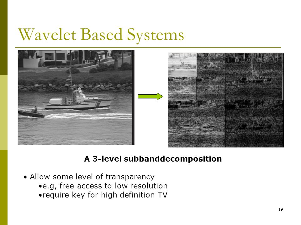 19 Wavelet Based Systems A 3-level subbanddecomposition Allow some level of transparency e.g, free access to low resolution require key for high definition TV
