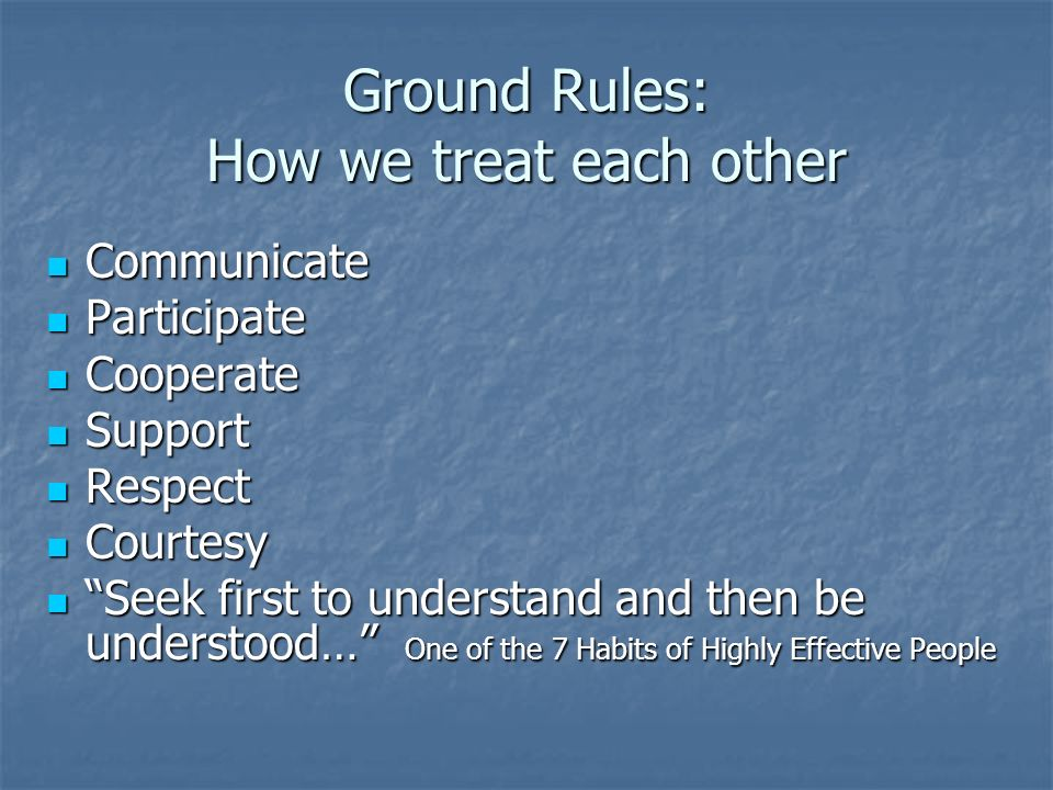 Ground Rules: How we treat each other Communicate Communicate Participate Participate Cooperate Cooperate Support Support Respect Respect Courtesy Courtesy Seek first to understand and then be understood… One of the 7 Habits of Highly Effective People Seek first to understand and then be understood… One of the 7 Habits of Highly Effective People