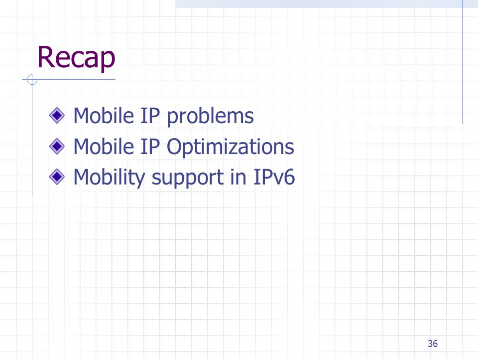 36 Recap Mobile IP problems Mobile IP Optimizations Mobility support in IPv6