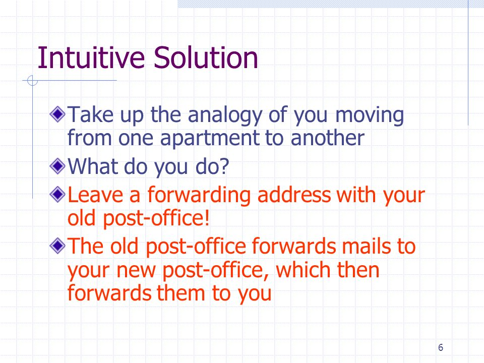 6 Intuitive Solution Take up the analogy of you moving from one apartment to another What do you do.