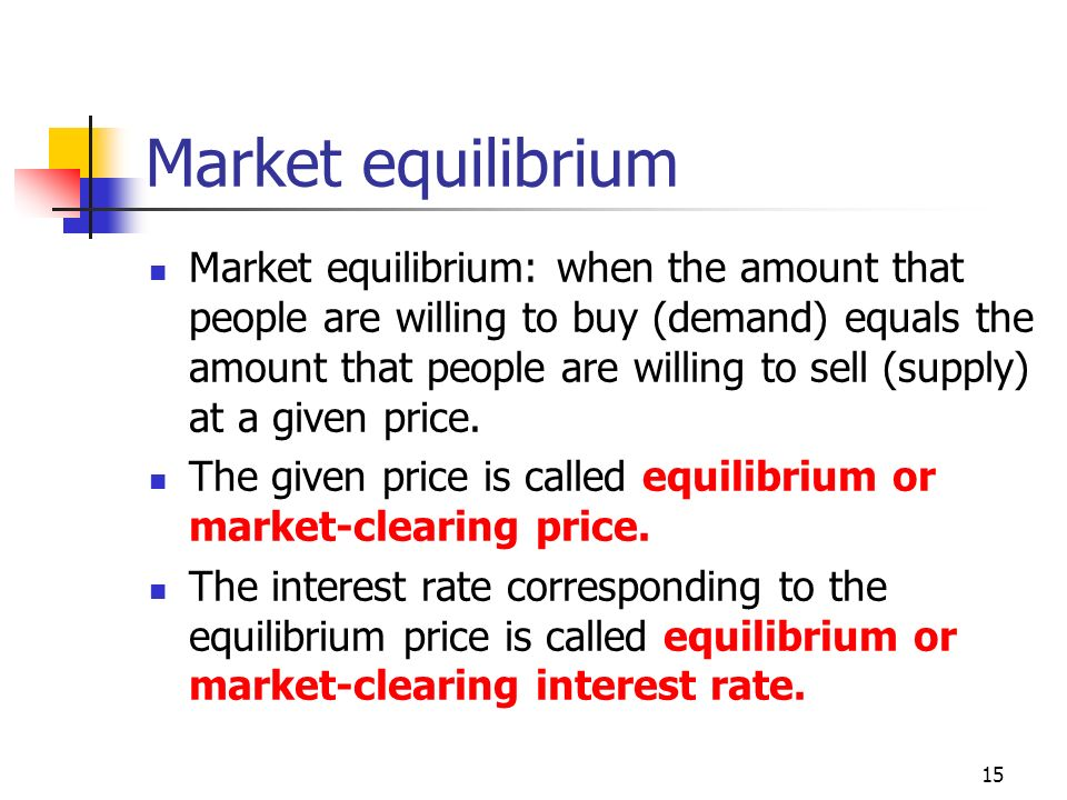 15 Market equilibrium Market equilibrium: when the amount that people are willing to buy (demand) equals the amount that people are willing to sell (supply) at a given price.