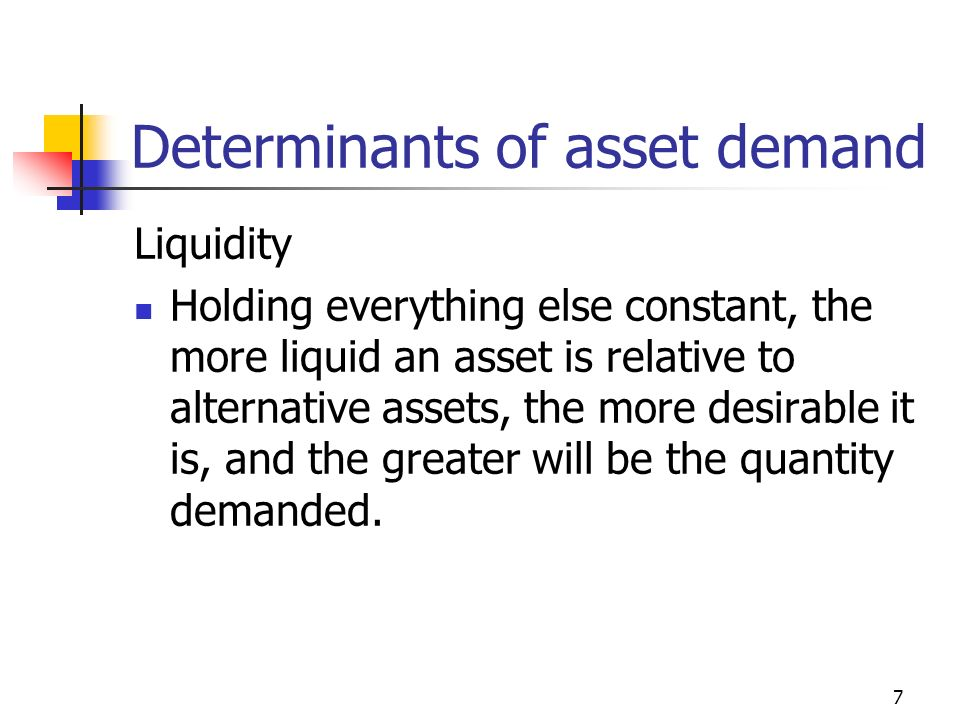 7 Determinants of asset demand Liquidity Holding everything else constant, the more liquid an asset is relative to alternative assets, the more desirable it is, and the greater will be the quantity demanded.